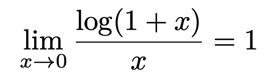 \[\lim_{x\to 0}\frac{\log (1+x)}{x}=1\]