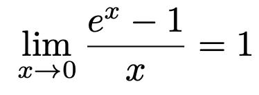 \[\lim_{x\to 0}\frac{e^x-1}{x}=1\]