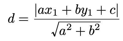 \[d=\frac{|ax_1+by_1+c|}{\sqrt{a^2+b^2}}\]