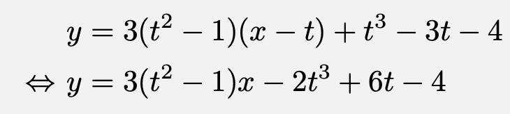 \begin{align*}&y=3(t^2-1)(x-t)+t^3-3t-4\\\Leftrightarrow &y=3(t^2-1)x-2t^3+6t-4\end{align*}