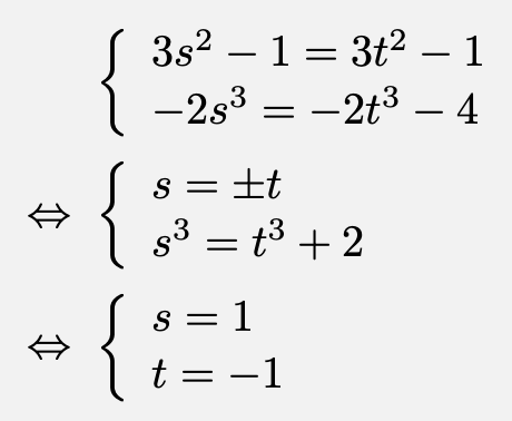 \begin{align*}&\left\{\begin{array}{l}3s^2-1=3t^2-1\\-2s^3=-2t^3-4\end{array}\right.\\\Leftrightarrow&\left\{\begin{array}{l}s=\pm t\\s^3=t^3+2\end{array}\right.\\\Leftrightarrow&\left\{\begin{array}{l}s=1\\t=-1\end{array}\right.\end{align*}