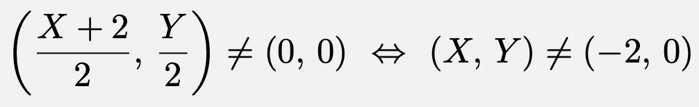 \[\left(\frac{X+2}{2},\,\frac{Y}{2}\right)\ne (0,\,0)\Leftrightarrow (X,\,Y)\ne(-2,\,0)\]