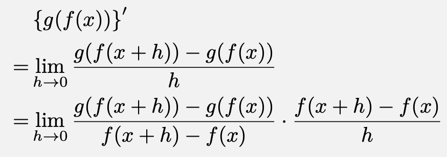\begin{align*}&\left\{g(f(x))\right\}'\\=&\lim_{h\to 0}\frac{g(f(x+h))-g(f(x))}{h}\\=&\lim_{h\to 0}\frac{g(f(x+h))-g(f(x))}{f(x+h)-f(x)}\cdot\frac{f(x+h)-f(x)}{h}\end{align*}