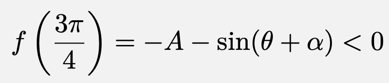 \[f\left(\frac{3\pi}{4}\right)=-A-\sin(\theta+\alpha)<0\]